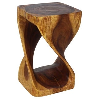 10 Inches Square x 16-inch Monkey Pod Wood Walnut Oil-finished Twist Stool (Thailand)