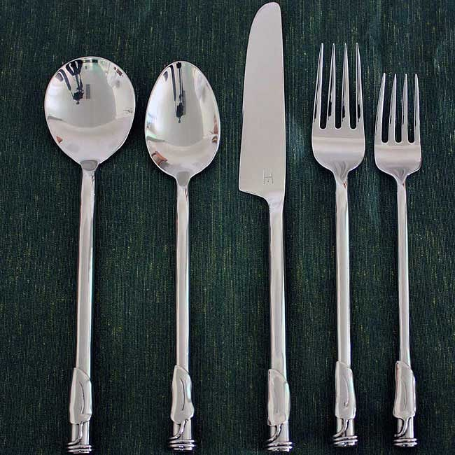 Handmade Stainless Steel Leaf 3-coil Round 20-piece Flatware Set (Thailand) - Thumbnail 0