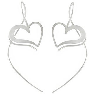 Journee Collection  Sterling Silver Heart Spiral Earrings