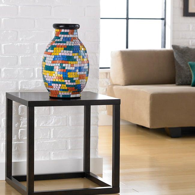 Glass Painter's Palette Mosaic Decorative Vase (Indonesia)
