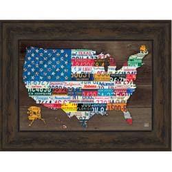 Aaron Foster '50 State Flag' Embellished Framed Art Print