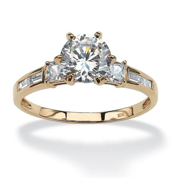 56f427552690c2 Shop 10K Yellow Gold Cubic Zirconia Engagement Ring - White - On ...