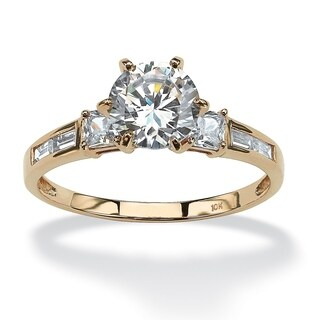 10K Yellow Gold Cubic Zirconia Engagement Ring - White (4 options available)