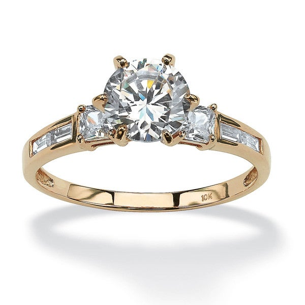 2.14 TCW Round Cubic Zirconia Engagement Anniversary Ring in 10k Gold Classic CZ