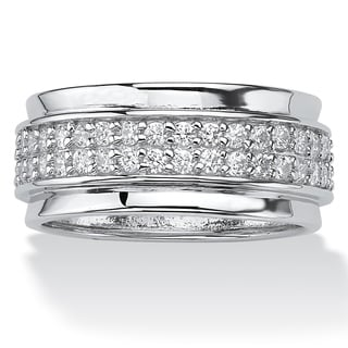 .90 TCW Round Cubic Zirconia Sterling Silver Eternity Band Classic CZ