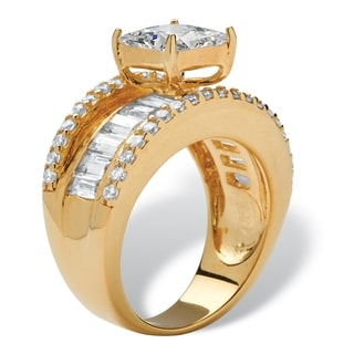 3.63 TCW Emerald-Cut Cubic Zirconia 18k Gold over Sterling Silver Engagement/Anniversary R