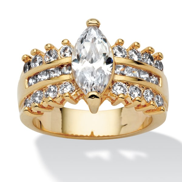 PalmBeach 3.28 TCW Marquise-Cut Cubic Zirconia Engagement Ring 14k Gold-Plated Classic CZ