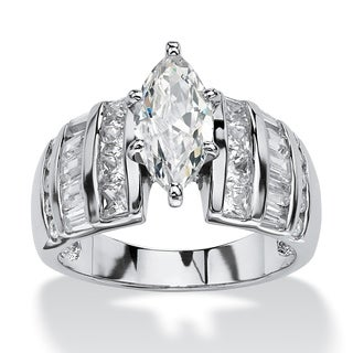 Platinum over Sterling Silver Cubic Zirconia Channel Engagement Ring - White (5 options available)