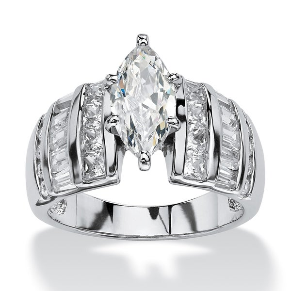 Platinum over Sterling Silver Cubic Zirconia Channel Engagement Ring - White