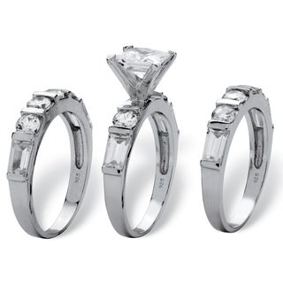 4.74 TCW Princess-Cut Cubic Zirconia Sterling Silver 3-Piece Bridal Engagement Wedding Ban