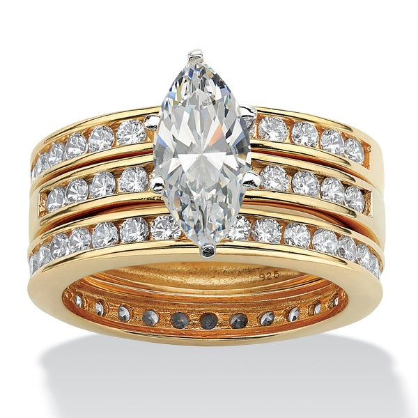 3.65 TCW Marquise-Cut Cubic Zirconia 18k Gold over Sterling Silver 3-Piece Wedding Set Cla