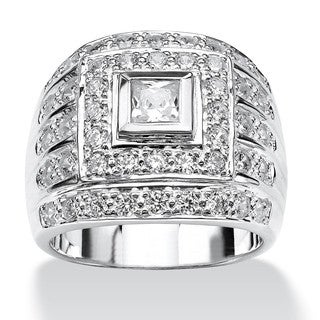PalmBeach Men's 2.89 TCW Square-Cut Cubic Zirconia Ring in .925 Sterling Silver