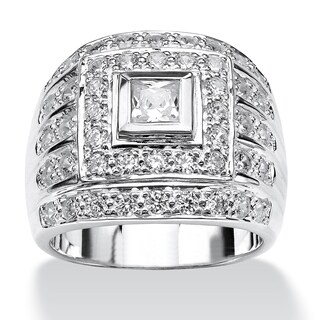 Men's 2.89 TCW Square-Cut Cubic Zirconia Ring in .925 Sterling Silver (5 options available)