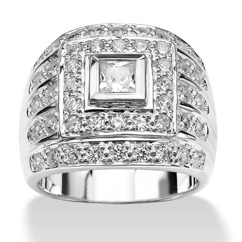 Men's 2.89 TCW Square-Cut Cubic Zirconia Ring in .925 Sterling Silver