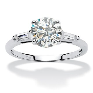 10K White Gold Cubic Zirconia 3-Stone Bridal Ring (4 options available)