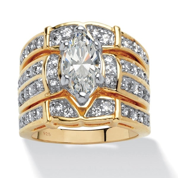 Yellow Gold over Sterling Silver Cubic Zirconia 3-Piece Bridal Set