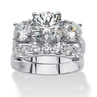PalmBeach 2 Piece 5.50 TCW Round Cubic Zirconia Bridal Ring Set in Platinum over Sterling Silver Glam CZ