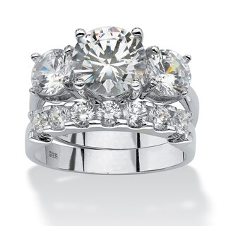 2 Piece 5.50 TCW Round Cubic Zirconia Bridal Ring Set in Platinum over Sterling Silver Gla