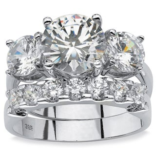 2 Piece 5.50 TCW Round Cubic Zirconia Bridal Ring Set in Platinum over Sterling Silver Gla (4 options available)