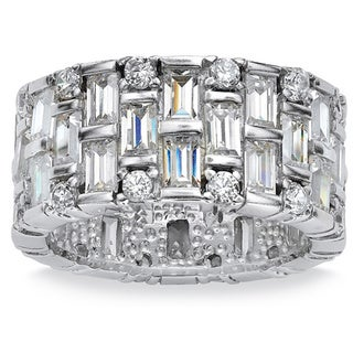5.12 TCW Baguette Cubic Zirconia Eternity Band in Platinum over Sterling Silver Glam CZ