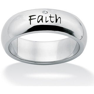 Neno Buscotti Stainless Steel Cubic Zirconia Faith Ring
