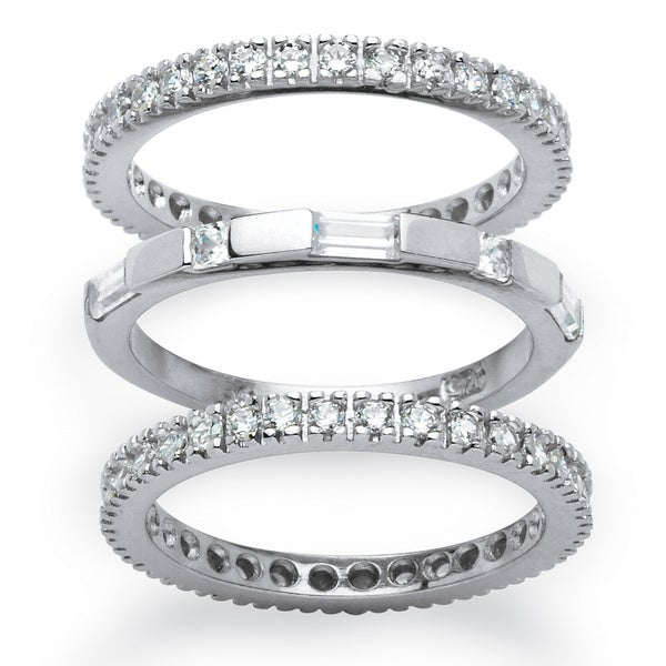 PalmBeach 3 Piece 2.02 TCW Cubic Zirconia Eternity Stack Bands Set in Platinum over Sterling Silver Classic CZ