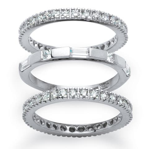 Platinum over Sterling Silver Cubic Zirconia 3-Piece Eternity Ring - White
