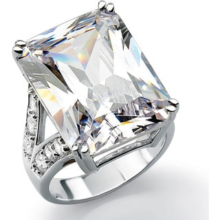 27.10 TCW Emerald-Cut Cubic Zirconia Engagement Ring in Platinum over Sterling