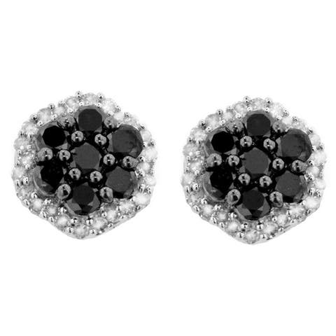Sterling Silver 1ct TDW Black and White Diamond Flower Earrings
