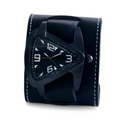 Nemesis Men's Ion-Plating Oversized Leather Strap Watch