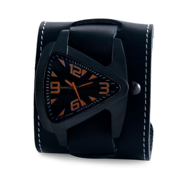 Nemesis Men's Ion-Plated Oversized Black / Orange Leather Cuff Watch