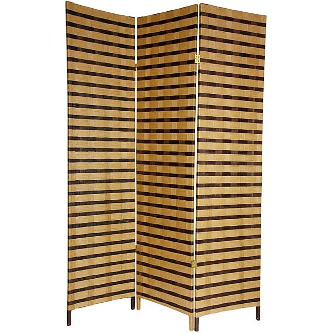 Shop Handmade Four Panel 6 Foot Tall Two Tone Natural Fiber Room