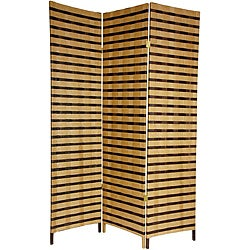 Handmade Four-Panel 6-Foot Tall Two Tone Natural Fiber Room Divider (China)