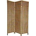 Handmade Four-Panel 6-Foot Tall Two Tone Natural Fiber Room Divider (China)