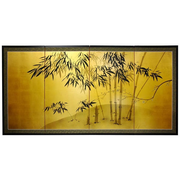 Shop Handmade Silk and Wood 36-inch Gold Leaf Bamboo Wall Hanging ...