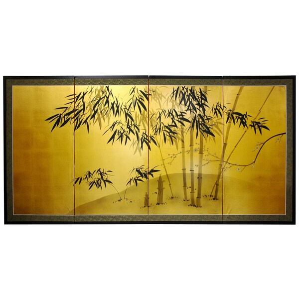 Handmade Silk and Wood 36-inch Gold Leaf Bamboo Wall Hanging (China)