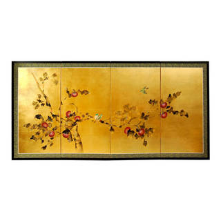 Handmade Silk and Wood 24-inch Cherry Blossom Wall Hanging (China)