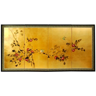 Silk and Wood 36-inch Cherry Blossom Wall Hanging (China)