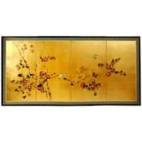 "Handmade Silk and Wood 36-inch Cherry Blossom Wall Hanging (China) - 36"""