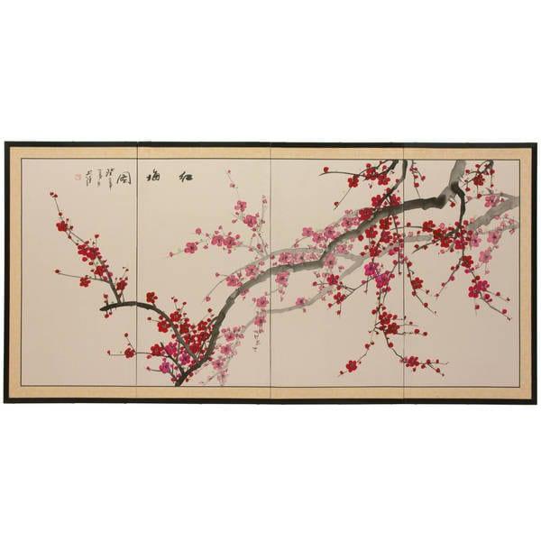 Handmade Silk and Wood 36-inch Plum Blossom Wall Hanging (China)