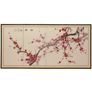 Handmade Silk and Wood 36-inch Plum Blossom Wall Hanging (China)
