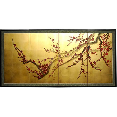 Handmade Silk and Wood 18-inch Plum Tree on Gold Leaf Wall Hanging (China)