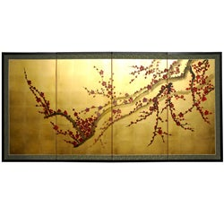 Handmade Silk and Wood 24-inch Plum Tree on Gold Leaf Wall Hanging (China)