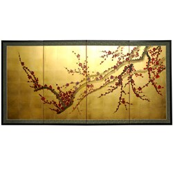 Handmade Silk and Wood 24-inch Plum Tree on Gold Leaf Wall Hanging (China) - 18""
