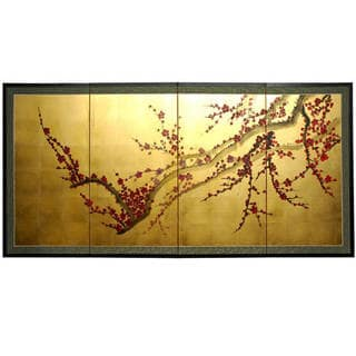 "Link to Handmade Silk and Wood 36-inch Plum Tree on Gold Leaf Wall Hanging (China) - 18""H x 36""W Similar Items in Wall Sculptures"