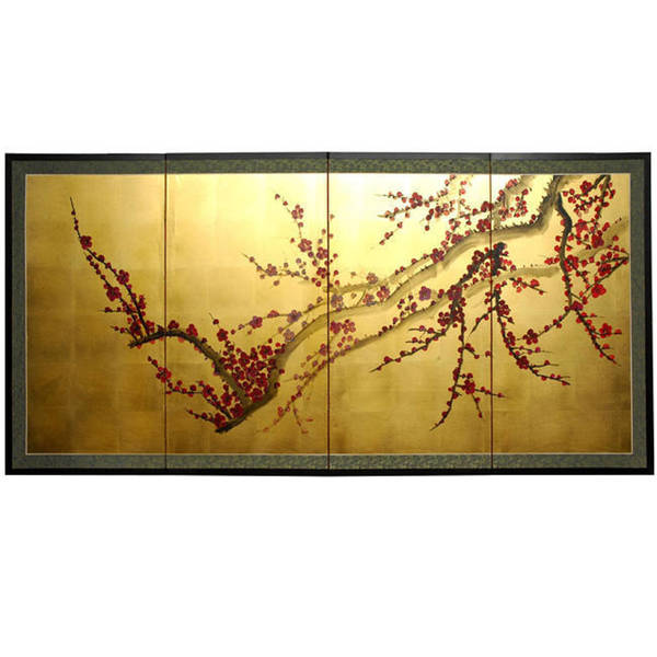 Handmade Silk and Wood 36-inch Plum Tree on Gold Leaf Wall Hanging (China)
