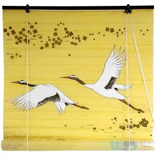 Handmade Rice Paper 36-inch Cranes Shoji Blinds (China)