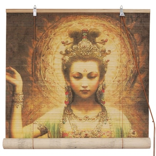Handmade Bamboo Kwan Yin with Lotus Blinds (36 in. x 72 in.) (China)