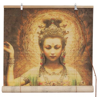 Handmade Bamboo Kwan Yin with Lotus Blinds (36 in. x 72 in.) (China)