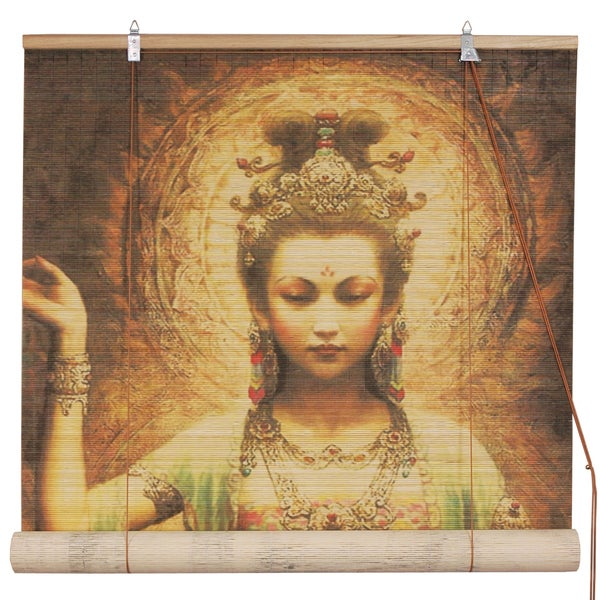 Handmade Bamboo Kwan Yin with Lotus Blinds (48 in. x 72 in.) (China)